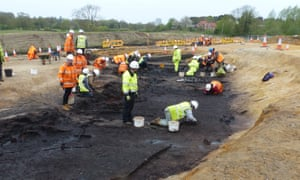 Archaeologists excavate the Suffolk site.