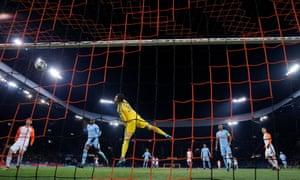 Ederson in the Manchester City goal cannot prevent Bernard giving Shakhtar Donetsk the lead