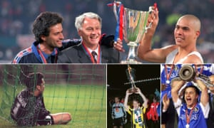 Bobby Robson, José Mourinho and Ronaldo lift the trophy in 1997; David Seaman reflects on Nayim's goal in 1995, Roberto Mancini triumphs with Lazio in 1999; and Dennis Wise celebrates Chelsea's victory in 1998