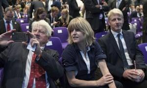 Stanley Johnson, left, and Boris Johnson's siblings Rachel and Jo Johnson.
