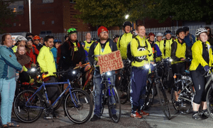Bike ride in Manchester organised by Helen Pidd to protest about lack of police investigations into bike muggings