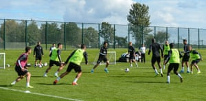 Newcastle players play a possession game during training this week.