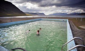 Reykjafjarðarlaug pool, looking out onto Reykjafjörður, Westfjords, Iceland.