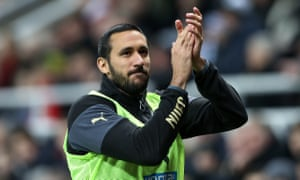 Jonas Gutiérrez applauds Newcastle supporters at St James' Park shortly after being given the all-clear from testicular cancer in November 2014.