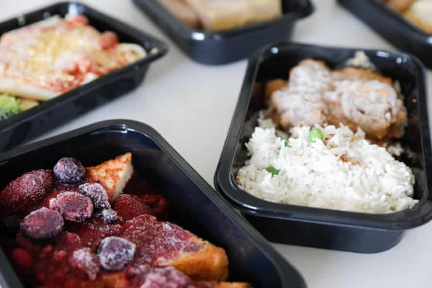 A close up of frozen meals from Gate Gourmet