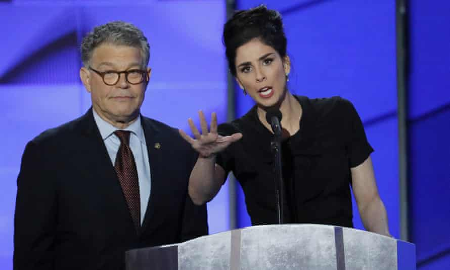 Al Franken and comedian Sarah Silverman speak during the first day of the Democratic National Convention in Philadelphia on 25 July 2016.