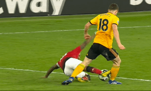 Ashley Young caught Diogo Jota with a high challenge to earn a second yellow card.