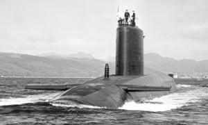 The submarine HMS Repulse pictured in 1980