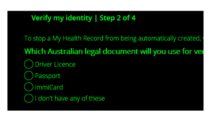 Screenshot of the My Health Record website in high-contrast mode