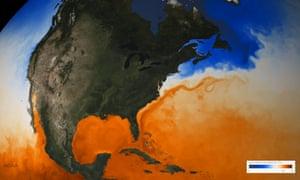 Sea surface temperature in the Gulf stream