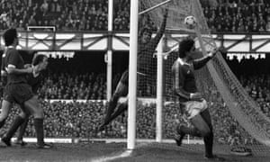 Everton's Imre Varadi wheels away in celebration after beating Liverpool goalkeeper Ray Clemence to put Everton 2-0 up in their 1981 FA Cup fourth-round tie at Goodison Park.