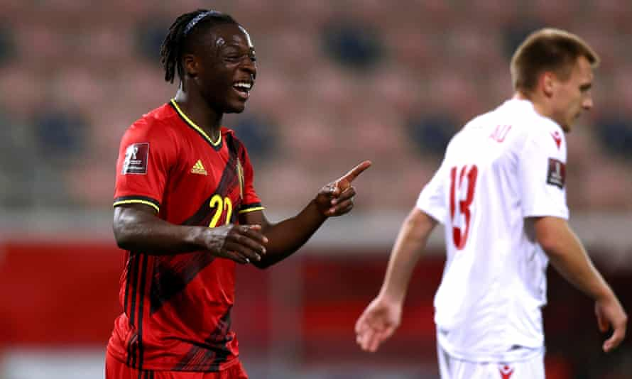 Doku celebrates scoring in the 8-0 win in the World Cup qualifier against Belarus in March, his second international goal.