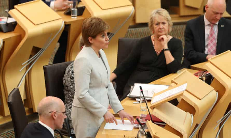 First Minister Nicola Sturgeon addresses the Scottish parliament in Edinburgh where she announced her legislative programme for the coming year.