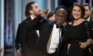 Barry Jenkins and Adele Romanski accepting the Oscar for Best motion picture of the year, for work on 'Moonlight'