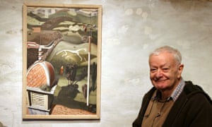 Robin Rae at Sladers Yard, Bridport, Dorset, with his painting Wiltshire White Horse, 1947.