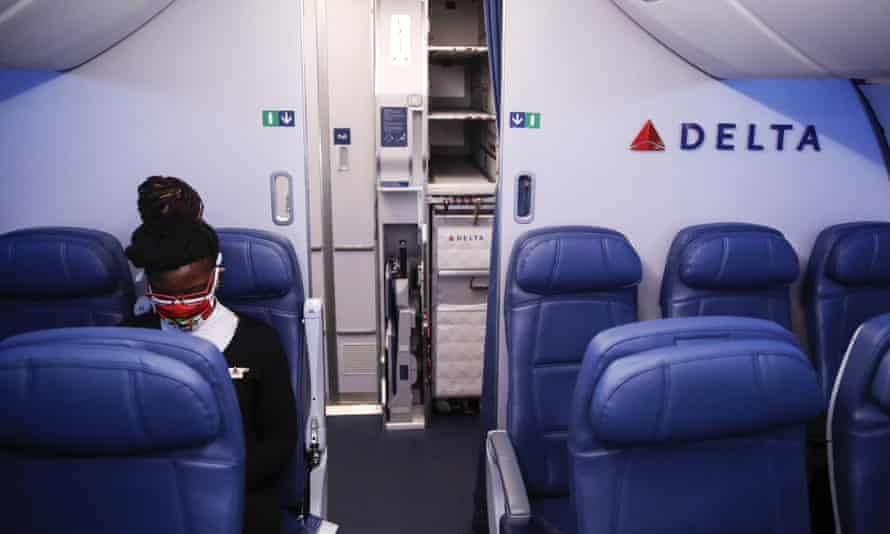 Delta plans to continue to block the middle seats in passenger cabins to ensure social distancing.