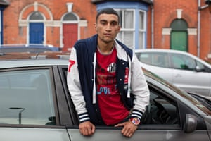 Red T-Shirt, baseball jacket, car