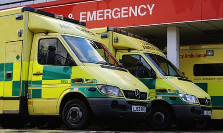 Ambulances parked outside the A&E ward at St Thomas' Hospital in London.