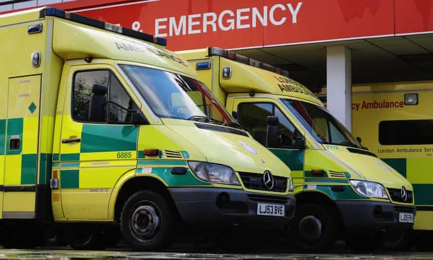 Ambulances park outside accident and emergency