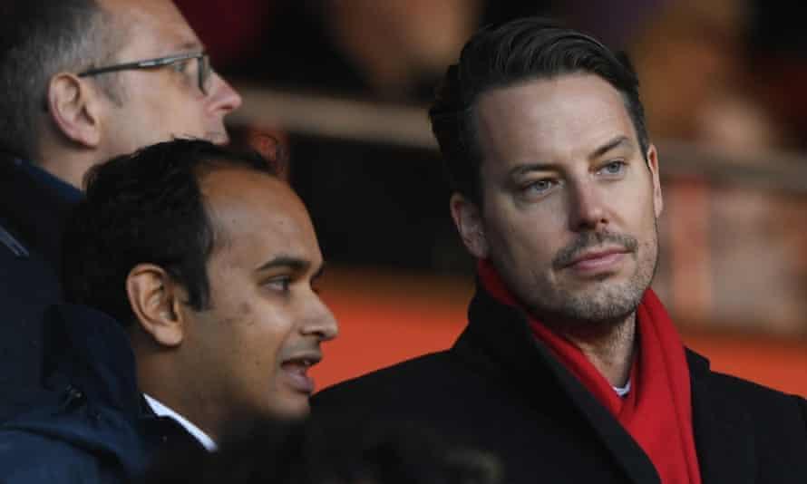 Arsenal director Josh Kroenke (right) addressed the club's fan forum alongside chief executive Vinai Venkatesham (left).