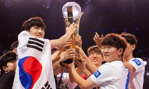 South Korea lifts the trophy at the 2018 Overwatch World Cup at Blizzcon, Anaheim.