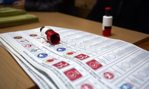 General election ballot papers at a polling station in Istanbul.