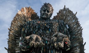The Knife Angel is installed in the Centre Square in Middlesbrough, England.