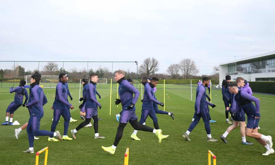 Tottenham players are put through their paces on Friday.