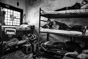 A cell for five at Poggioreale prison in Naples. The prison is poorly maintained and is one of the oldest and most overpopulated in the country with 2,000 inmates