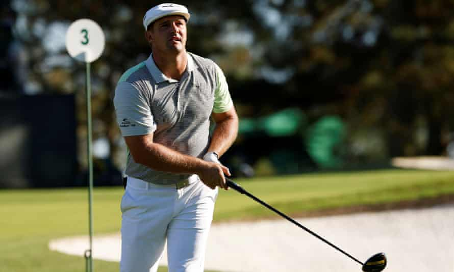 Bryson DeChambeau prepares during a practice round for the Masters