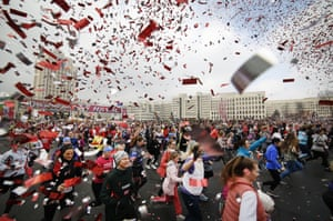 Five thousands participants took part in the beauty run event on  International Women's Day, which is an official holiday in Belarus