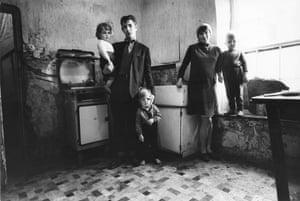 Mrs Ferguson, her husband, James, and their children, Derry, Northern Ireland, October 1968.