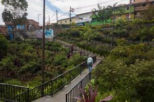 Another section of the city's 'Green Corridor', La isla, Comuna 2, Santa Cruz, in Medellín, Colombia