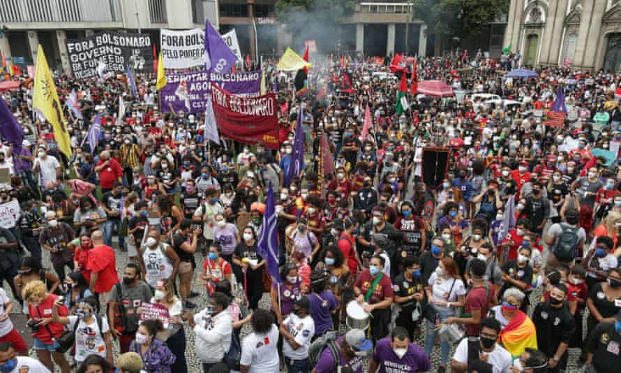 People in Rio de Janeiro protest against the Brazilian government on Saturday.