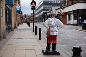 A butcher's shop in Sheffield city centre, open for business during the coronavirus pandemic.