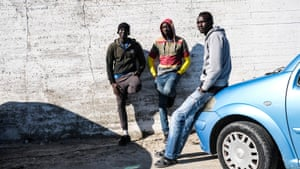 South Sudanese migrants outside Moria