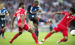 Marvin Sordell shoots during the London 2012 Olympic Games match between Great Britain and the United Arab Emirates at Wembley.