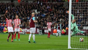 Marko Arnautovic scores but he is just offside.