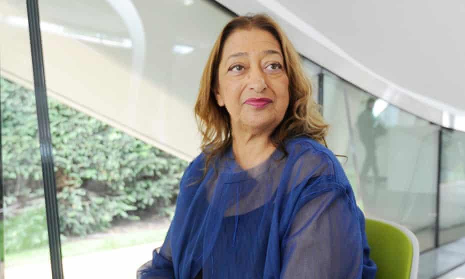 Zaha Hadid sits inside her Serpentine Sackler gallery, London.