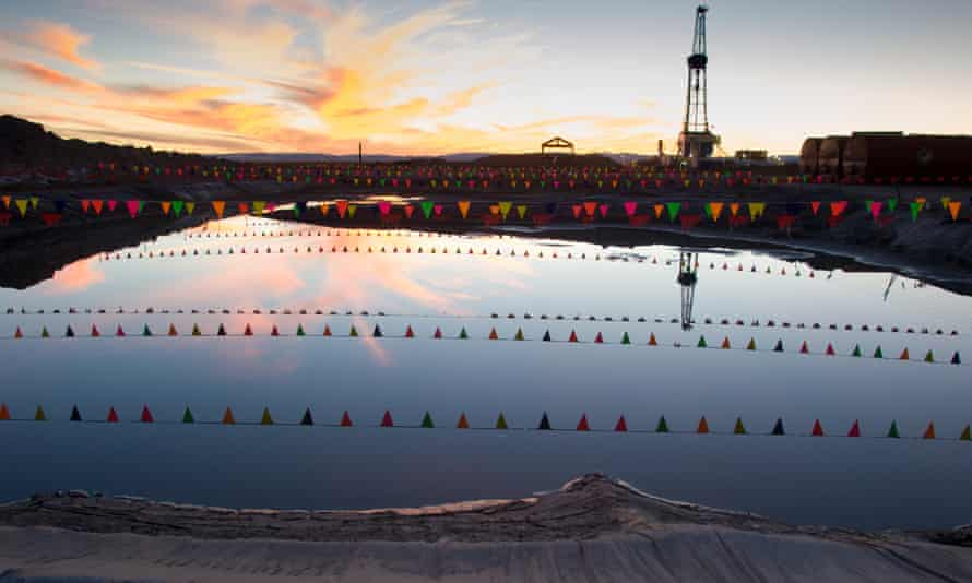 Wastewater evaporation pits from gas drilling and fracking in Wyoming.