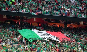 Supporters of Mexico display their flag during their match against Venezuela.
