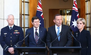 Chief of the defence force, Mark Binskin, Tony Abbott, the foreign affairs minister, Julie Bishop, and the defence minister, Kevin Andrews at a press conference in Canberra on Wednesday.