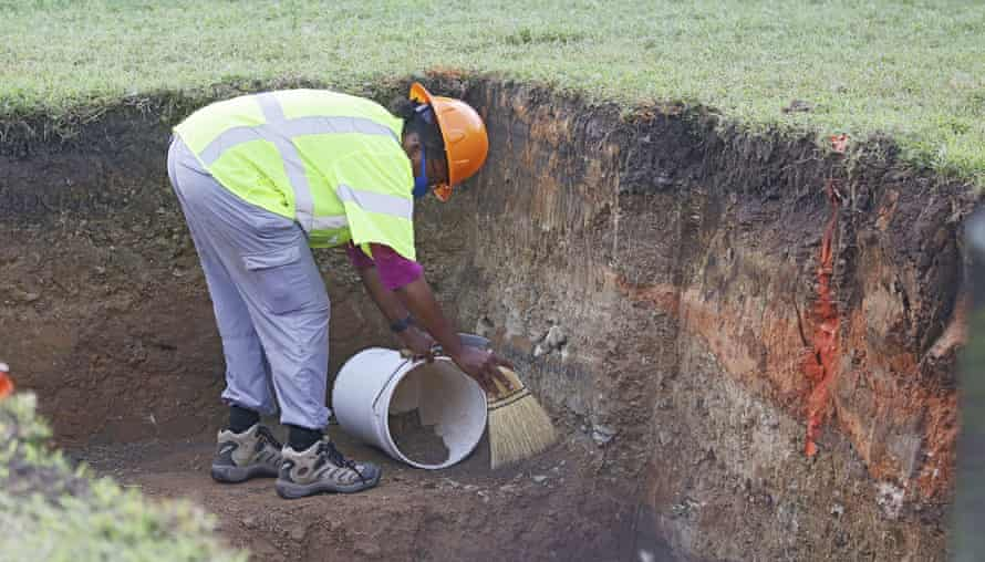 Stubblefield excavating a site at Oaklawn Cemetery last July.