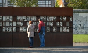 The memorial to people who died trying to get to the west with an original portion of the Wall at the Bernauerstrasse