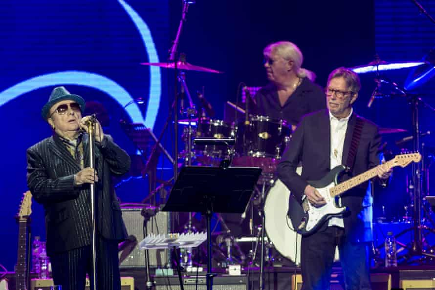 Van Morrison and Eric Clapton performing in March 2020.
