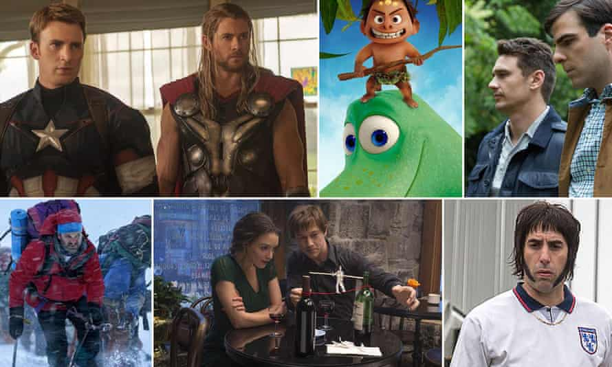 Films of 2015 ... clockwise from top left: Avengers: Age of Ultron, The Good Dinosaur, I Am Michael, Grimsby, The Walk, Everest