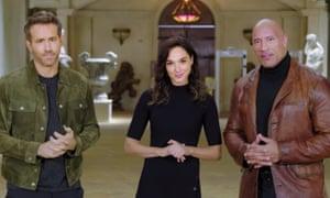 Ryan Reynolds, Gal Gadot and Dwayne Johnson in the Netflix promo video.