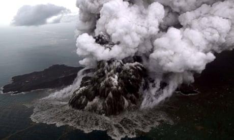 Anak Krakatau volcano erupts before and after tsunami – video