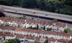Residential homes next to a motorway in Bristol.