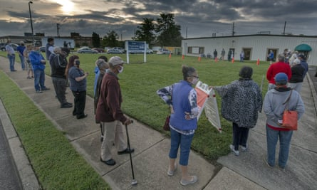 Voters got up with the sun to line up outside the voter registrar's office in Roanoke, Virginia.